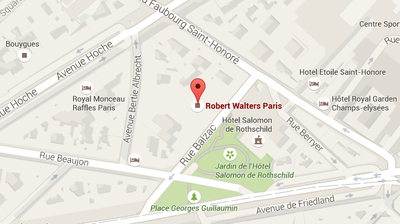 Plan google map : localisation du bureau Robert Walters à Paris