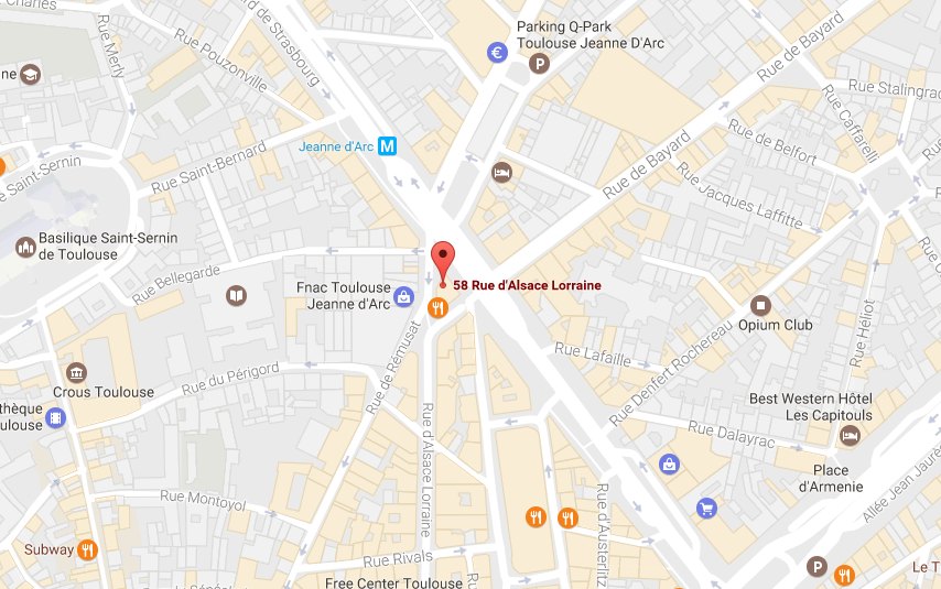 Plan google map : localisation du bureau Robert Walters à Toulouse